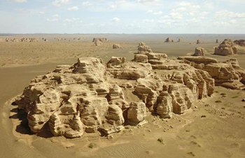 Scenery of Dunhuang Yardang National Geopark after rain