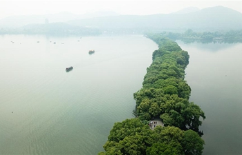 Aerial view of West Lake in Hangzhou