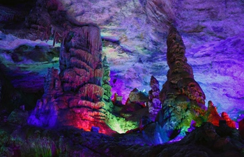 Tourists view Wanxiang karst cave in NW China's Gansu
