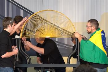 Spaghetti Bridge Building World Championship held in Budapest, Hungary