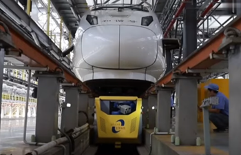 High-speed trains undergo check-ups by robots