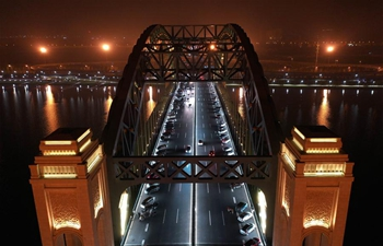 Night view of bridges in Taiyuan, N China's Shanxi