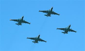 Airplanes attend rehearsal for military parade in Minsk