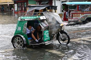 Heavy rain causes flood in Quezon City, the Philippines