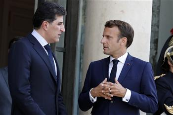 Macron meets with president of Iraq's Kurdistan in Paris