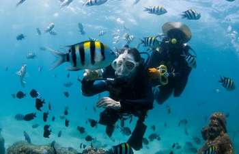 Tourists enjoy diving at Boundary Island Tourist Attraction in Hainan