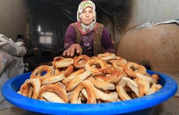 "Residents of Malatya make traditional food ""simit"" in Turkey"