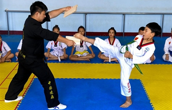 Kids do taekwondo training during summer vacation in China's Hebei