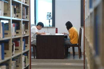 People read books at library in Fuzhou, China's Fujian