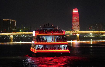 In pics: night view on cruise in Nanchang, E China