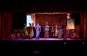 Artists of Shwe Man Thabin troupe perform during Thabin Performance in Yangon