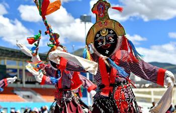 Artists perform Tibetan Opera in cultural festival in Shannan, China's Tibet