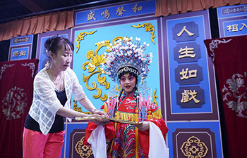 Children learn Peking Opera in Qinhuangdao, China's Hebei