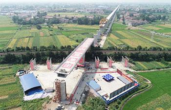 6,500-tonne railway bridge rotated in China's Hubei
