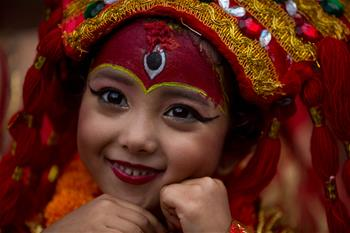 Over 50 girls attend mass Kumari Puja in Kathmandu, Nepal