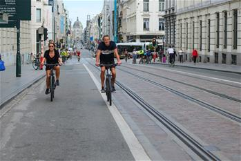 Annual car free day marked in Brussels, Belgium