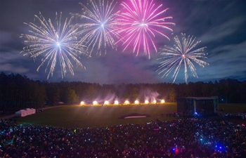 International fireworks show held in Vilnius, Lithuania