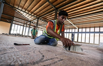 Pebble mosaic floor restored in Gaza's cemetery