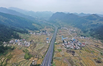 Autumn scenery of countryside in Mochong Town of Duyun, China's Guizhou