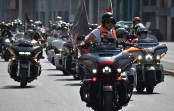 Harley-Davidson motorcycle parade held in Casablanca, Morocco