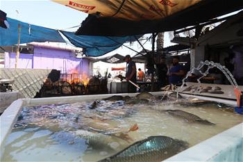 Men make grilled fish at shop in Baghdad, Iraq