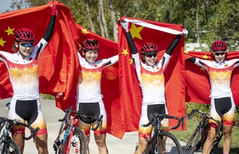 China claims title of women's team road race final of cycling road at Military World Games