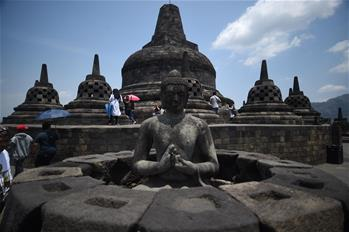 Tourists visit Borobudur temple in Central Java Province, Indonesia