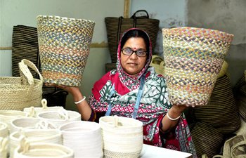Women make jute handicrafts at factory in Gazipur, Bangladesh
