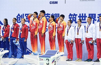 China win mixed 4×100m freestyle relay gold at Military World Games