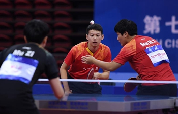 Chinese players compete in mixed doubles final of table tennis at Military World Games
