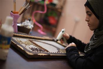 Palestinian artist makes art pieces in Gaza Strip city of Rafah