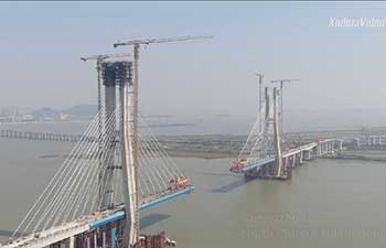 Main tower of rail bridge across S China's Pearl River roofed