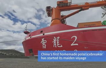 China's first homemade polar icebreaker on its maiden voyage