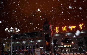 Snowfall hits Manzhouli in north China's Inner Mongolia