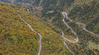 Aerial view of Sichuan-Tibet highway