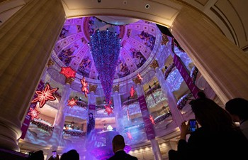 Upside-down Christmas tree shown in Macao