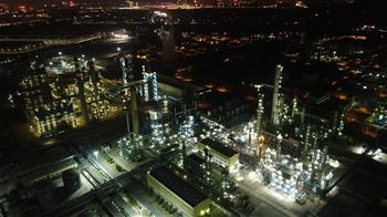 Night view of factory in China's Liaoning