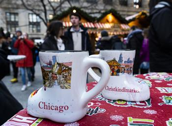 People enjoy Christkindlmarket in Chicago, U.S.