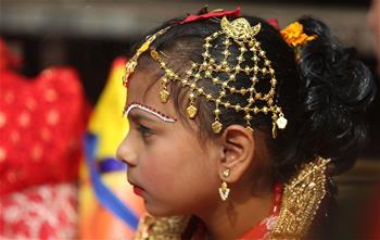 Nepalese girls attend Bel Bibaha ceremony in Kathmandu
