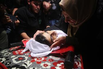 Funeral of Palestinian teenager held in Gaza Strip town of Khan Younis