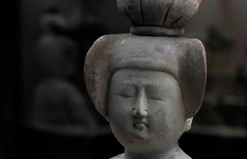 Maid figures of Tang Dynasty displayed at Xi'an Museum shows various unique hairstyles