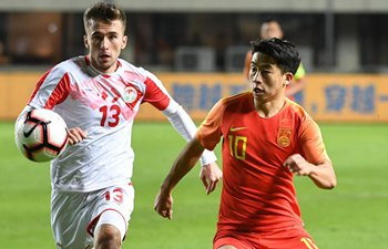 Late goal gives China a 2-1 win over Tajikistan in Zhuhai U22 tournament