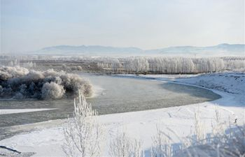 Frosty scenery at Tekes River national wetland park in China's Xinjiang