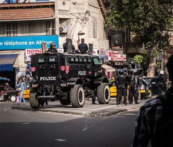 Police forces deployed in central Dakar, Senegal