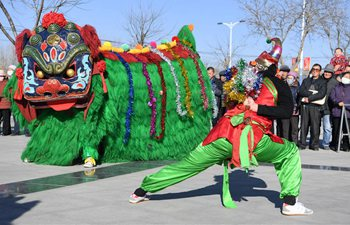 Folk artists rehearse lion dance for upcoming Chinese Lunar New Year in China's Gansu