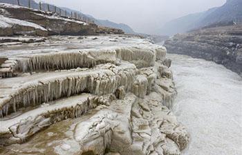 Winter scenery of Hukou Waterfall scenic spot in Jixian, China's Shanxi