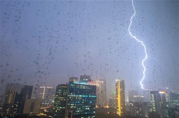 Lightning seen in sky in Jakarta, Indonesia