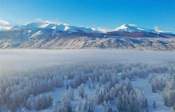 Winter scenery of Kanas River at Kanas scenic area in Altay, China's Xinjiang