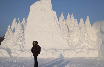 Tourists visit snow sculpture art expo in Harbin NE China