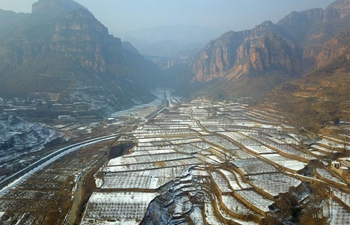 Scenery of snow-covered terraced fields in north China's Hebei
